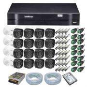 Kit CFTV 16 Câmeras Segurança Intelbras 720P VHD 1010B + Dvr Intelbras MHDX 1116 + HD 1 Tera Seagate SKYHAWK + Acessórios