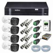 Kit CFTV 4 Câmeras Segurança 720P Intelbras Vhd 1120b + Dvr Intelbras MHDX 1104 + HD 500Gb Seagate + Acessórios