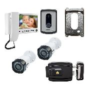 Kit Interfone De Video Intelbras 7010 + 2 Cameras + Fechadura