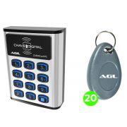 Controle de Acesso AGL Ca500 Card 500 Senhas Com Acesso Card Ou Tag + 20 Tag AGL