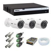 Kit 3 Câmeras de Segurança Intelbras 1080P VHD 3230B + Dvr Intelbras 3004 + Acessórios