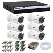 Kit 6 Câmeras Segurança Full HD 1080p Intelbras VHD 3230B + DVR Intelbras MHDX 3108 + Acessórios