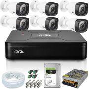 Kit 6 Câmeras Segurança Giga 720p GS0018 Open Hd + Dvr Giga Open HD Lite GS0083 + Hd de 1 Tera Seagate + Acessórios