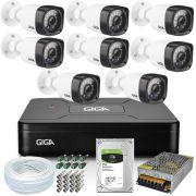 Kit 8 Câmeras Segurança Giga 720p GS0018 Open Hd + Dvr Giga Open HD Lite 720p GS0083+ Acessórios