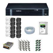 Kit CFTV 10 Câmeras Segurança Intelbras 720p VHD 1010B + Dvr Intelbras MHDX 1116 + HD 1 Tera Seagate SKYHAWK + Acessórios