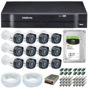 Kit CFTV 12 Câmeras Segurança Intelbras 720P VHD 1010B + Dvr Intelbras MHDX 1116 + HD 1 Tera Seagate SKYHAWK + Acessórios
