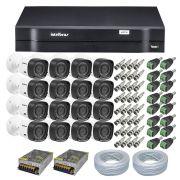 Kit CFTV 16 Câmeras Segurança Intelbras 720P VHD 1010B + Dvr Intelbras MHDX 1116 + Acessórios