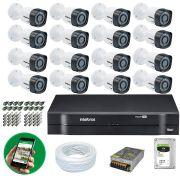 Kit CFTV 16 Câmeras Segurança 720p Dvr Multi Hd 1116 Intelbras 16 Canais