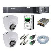 Kit CFTV 2 Câmeras Segurança Intelbras 720P VHD 1120D + Dvr Intelbras MHDX 1104 + HD Seagate 500GB + Acessórios