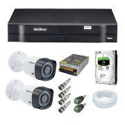 Kit CFTV 2 Câmeras Segurança 720P Intelbras VHD 1120B + Dvr Intelbras MHDX 1104 + HD Seagate 500GB + Acessorios