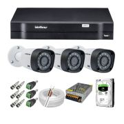 Kit CFTV 3 Câmeras Segurança Intelbras 720P VHD 3130B + Dvr Intelbras 1104 + HD 500GB + Acessórios