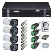 Kit CFTV 4 Câmeras Intelbras 720P VHD 3120B G4 + Dvr Intelbras 1104 + HD WD 1 Tera Purple + Acessórios