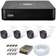 Kit Cftv 4 Câmeras de Segurança Giga 720p GS0018 + Dvr 4 Canais Giga Lite GS0082 + Acessórios