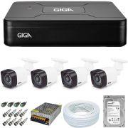 Kit Cftv 4 Câmeras de Segurança Giga 720p GS0018 + Dvr 4 Canais Giga Lite GS0082 + HD 500Gb + Acessórios