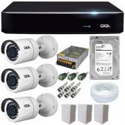 Kit CFTV 4 Câmeras Giga Super Starvis Gs0055 1080p + Dvr Giga Serie Orion Gs0180 4 Canais + Acessórios