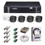 Kit CFTV 4 Câmeras Intelbras 720P VHD 1010B + Dvr Intelbras 1104 + HD WD 1 Tera Purple + Acessórios