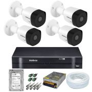 Kit Cftv 4 Câmeras Intelbras VHL 1120B 1MP 3.6mm 20 Metros + Dvr Mult HD Intelbras 4 Canais + Acessórios