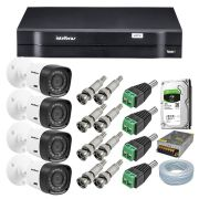 Kit CFTV 4 Câmeras Intelbras VHD 1010B + Dvr Intelbras 1108 + Acessórios