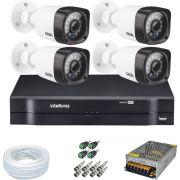 Kit CFTV 4 Câmeras Segurança Giga Serie Orion 720p GS0018+ Dvr Intelbras MHDX 1104 + Acessórios