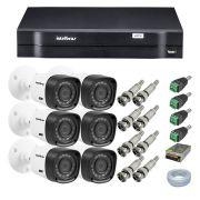 Kit CFTV 6 Câmeras Segurança Intelbras 720P VHD 1120B + Dvr Intelbras MHDX 1108 + Acessórios
