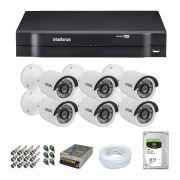 Kit CFTV 6 Câmeras Segurança Giga Serie Orion 720p + Dvr Intelbras MHDX 1108 + HD 1 tera Seagate + Acessórios