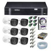Kit CFTV 6 Câmeras  Intelbras 720P VHL  1120B + Dvr Intelbras 1108 + HD WD 1 Tera Purple + Acessórios