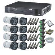 Kit CFTV 8 Câmeras Segurança Intelbras 720P VHD 1120B + Dvr Intelbras 8 Canais 1108 + HD 1 Tera Seagate SKYHAWK + Acessórios