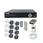 Kit Cftv 8 Câmeras Intelbras Vhd 1010B Infravermelho 720p + Drv Hb-Tech 8 Canais + Hd Seagate 1TB + Acessórios