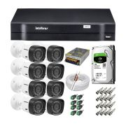 Kit CFTV 8 Câmeras Multi Hd 720p Dvr 8 Canais Intelbras 1108