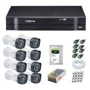 Kit CFTV 8 Câmeras Segurança Intelbras 720p VHD 1010B + Dvr Intelbras MHDX 1116 + HD 1 Tera Seagate + Acessórios