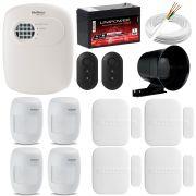 Kit de Alarme Intelbras Anm 3004 ST + 04 Sensores Com Fio Intelbras IVP 3000CF + 04 Sensores Sem Fio Intelbras XAS 4010 + Acessórios
