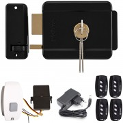 Kit Fechadura Eletrônica Intelbras FX500 Preta + Botoeira Simples Sem Fio + Receptor Rx Code Learn + 4 Controles TX DECO
