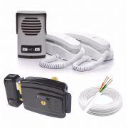 Kit Interfone 2 Pontos + Fechadura Elétrica Externa Agl + 50m Cabo