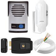 Kit Interfone Porteiro Eletrônico Agl P10S + Fechadura Elétrica Agl-inha + 20 Metros de Cabo