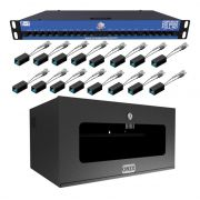 Power Balun HD 8000 Onix Security 16 Canais + Mini Rack 5u Preto