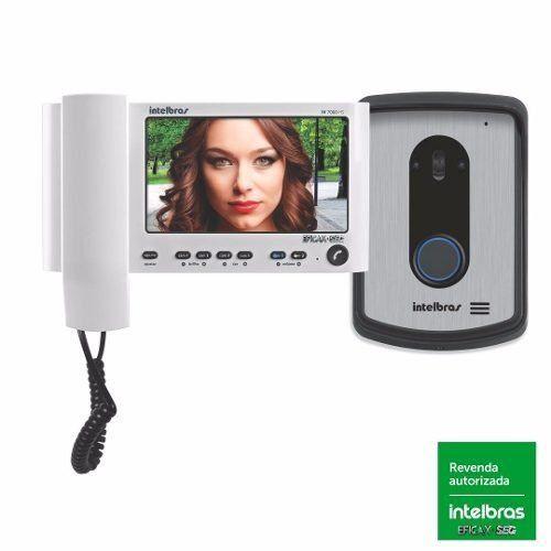 """Vídeo Porteiro Intelbras IV 7010 HS Branco, com Viva Voz, Tela Lcd de 7"""", Função Siga-me"""
