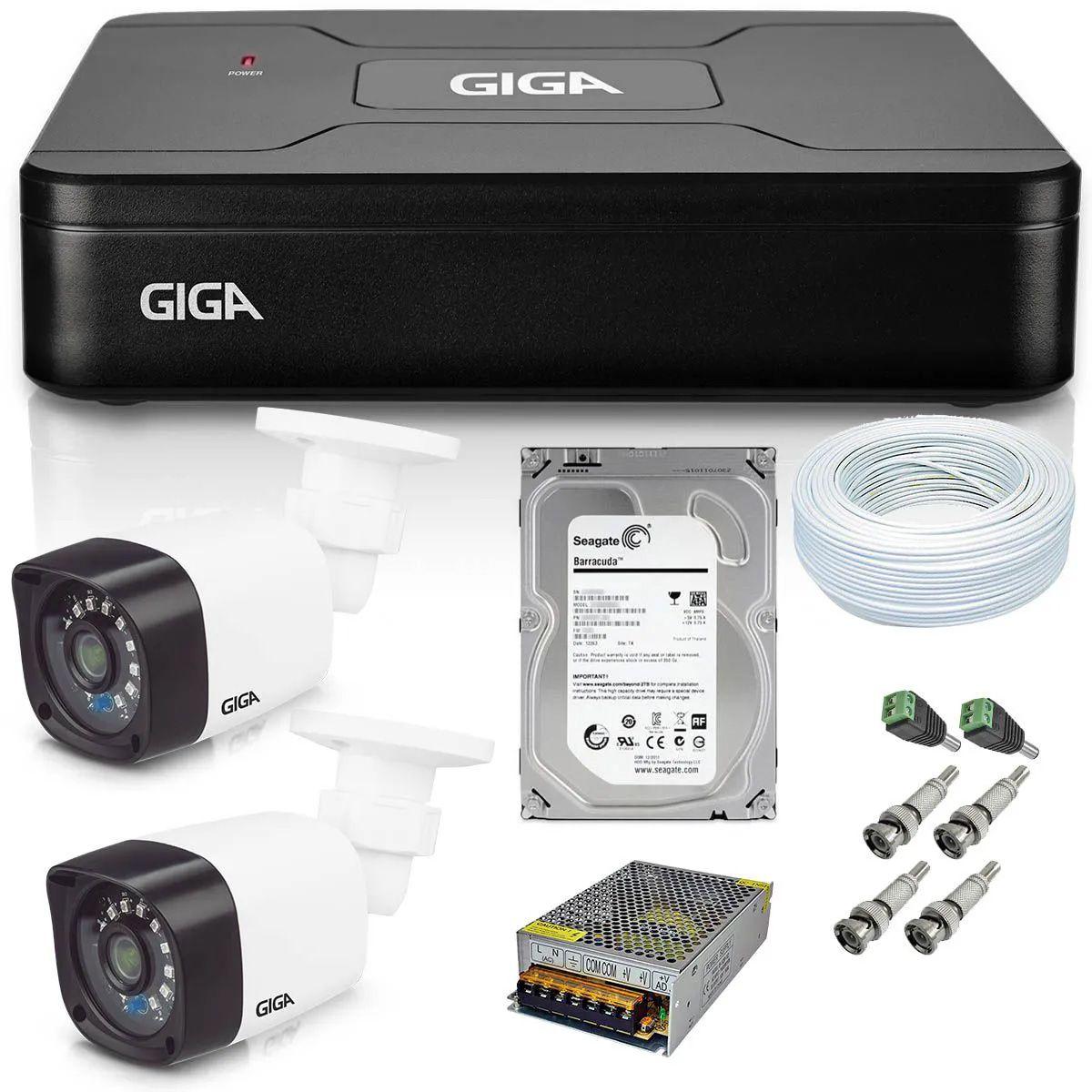 Kit CFTV 2 Câmeras Giga HD 720P + Dvr Open HD Lite 720P 4 Canais GS0082 + HD 500GB Seagate + Acessórios