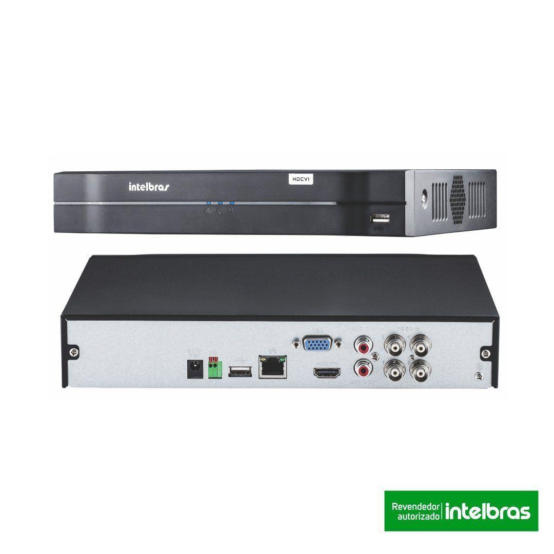 Kit CFTV 3 Câmeras Intelbras 720P VHD 3130B + Dvr Intelbras 1104 + HD WD 1 Tera Purple + Acessórios