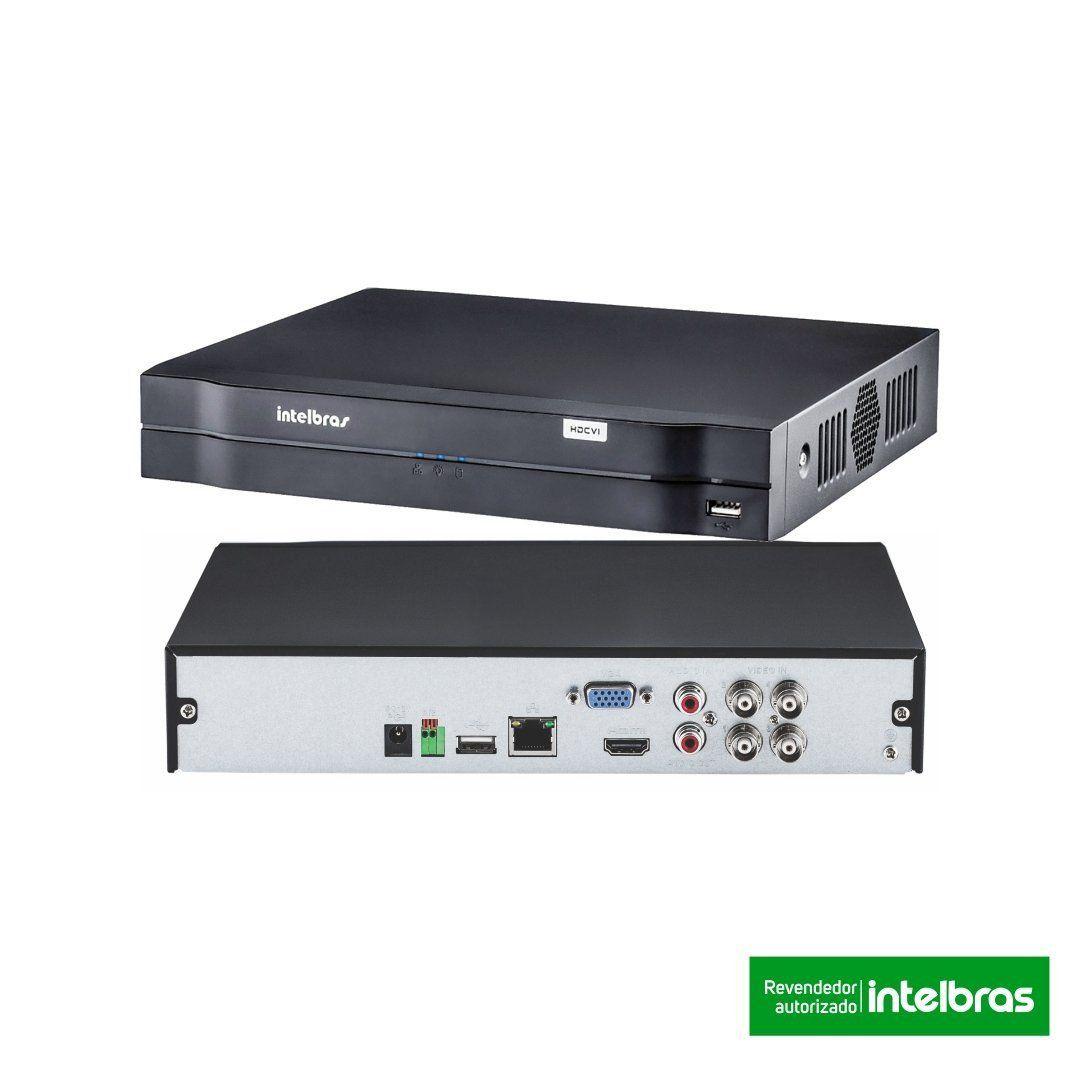 Kit CFTV 3 Câmeras Segurança 720P Intelbras VHD 1010B + Dvr Intelbras MHDX 1104 + Acessórios