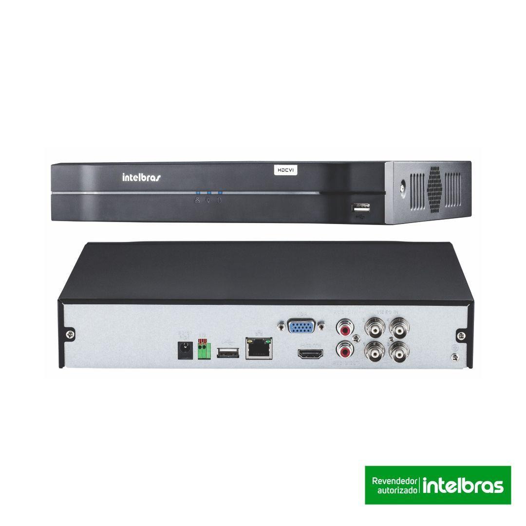 Kit CFTV 4 Câmeras Segurança 720P Intelbras VHD 1120B  + Dvr Intelbras MHDX 1104 + Acessórios