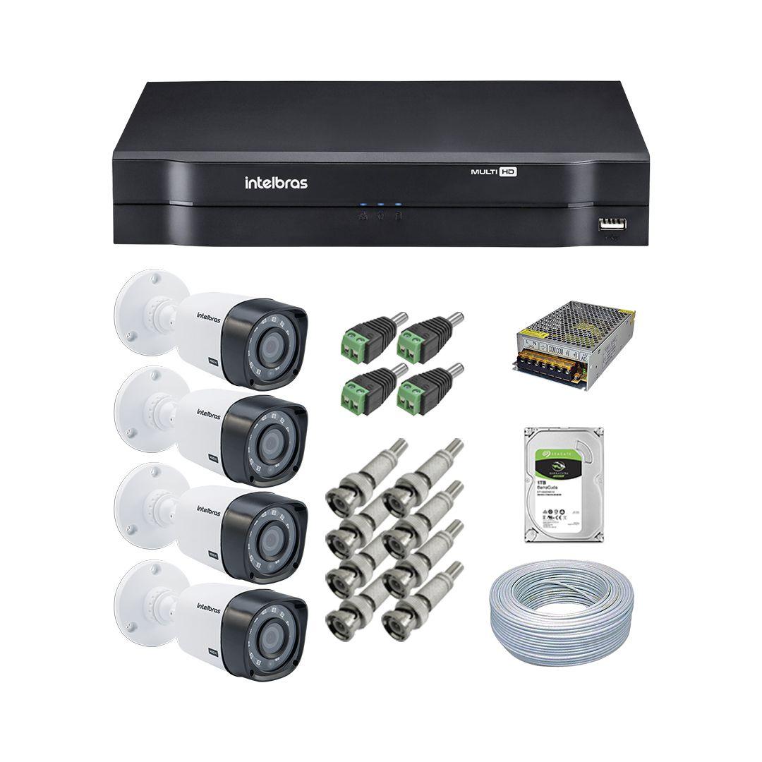 Kit CFTV 4 Câmeras Intelbras VHD 1120B + Dvr Intelbras MHDX 1108 + Acessórios