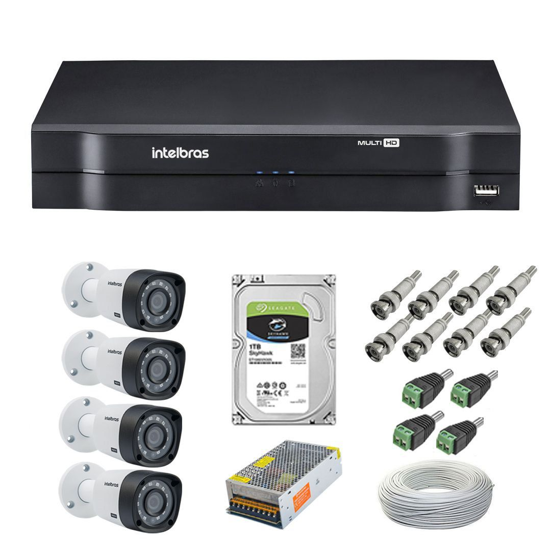 Kit CFTV 4 Câmeras Segurança 720P Intelbras VHD 3130B + Dvr Intelbras MHDX 1104 + HD 1 Tera Seagate + Acessórios