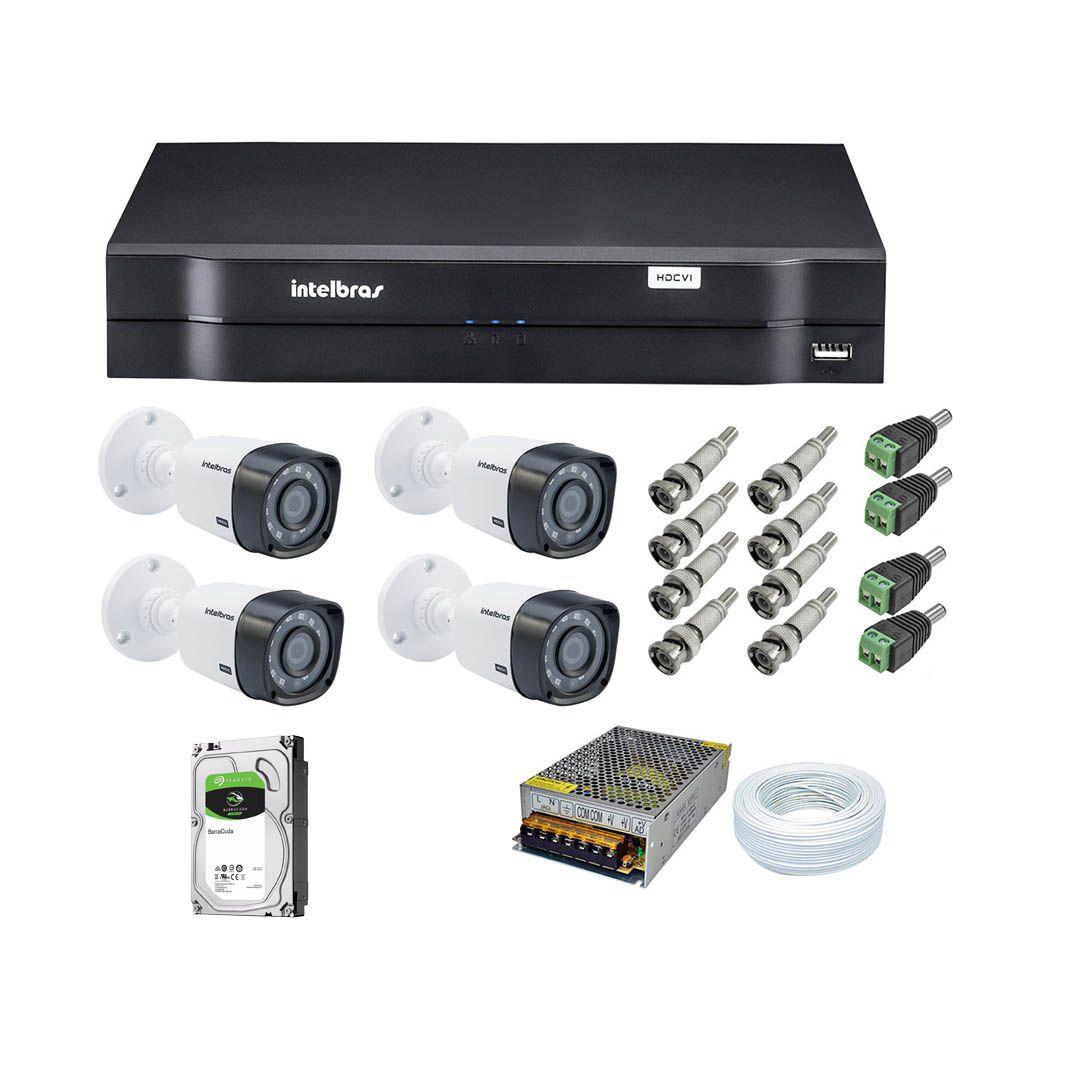Kit CFTV 4 Câmeras Segurança 720P Intelbras VHD 1010B + Dvr Intelbras MHDX 1104 + HD Interno 500Gb  + Acessórios