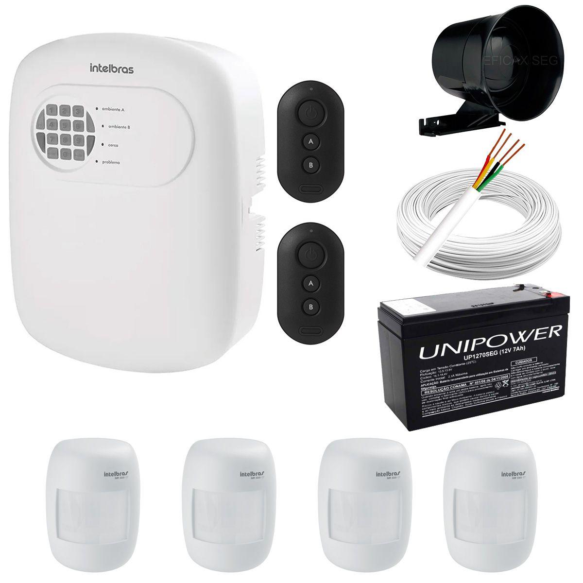 Kit de Alarme Intelbras Amt 2008 RF + 04 Sensores Com Fio Intelbras IVP 3000CF + Acessórios