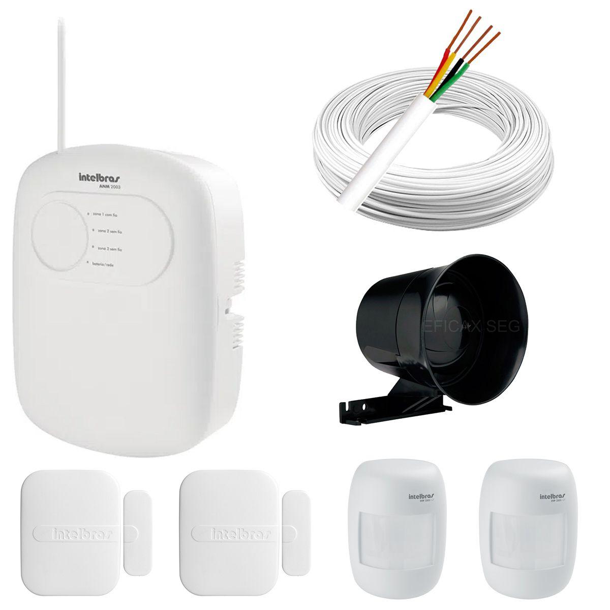 Kit de Alarme Intelbras Anm 2003 + 02 Sensores Com Fio Intelbras IVP 3000CF + 02 Sensores Sem Fio Intelbras XAS 4010 + Acessórios