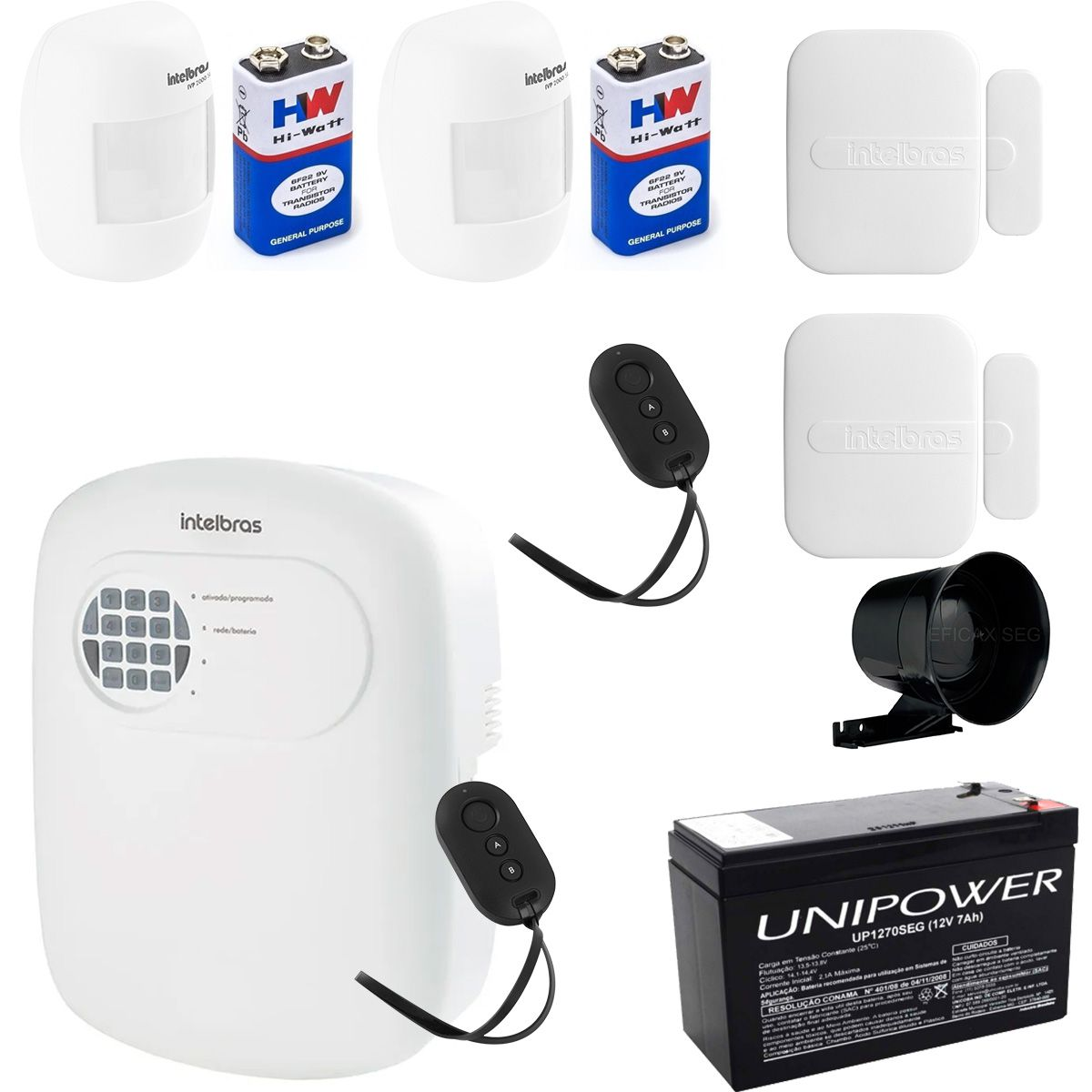 Kit de Alarme Intelbras Anm 3004 ST + 02 Sensores Com Fio Intelbras IVP 3000CF + 10 Sensores Sem Fio Intelbras XAS 4010 +Acessórios