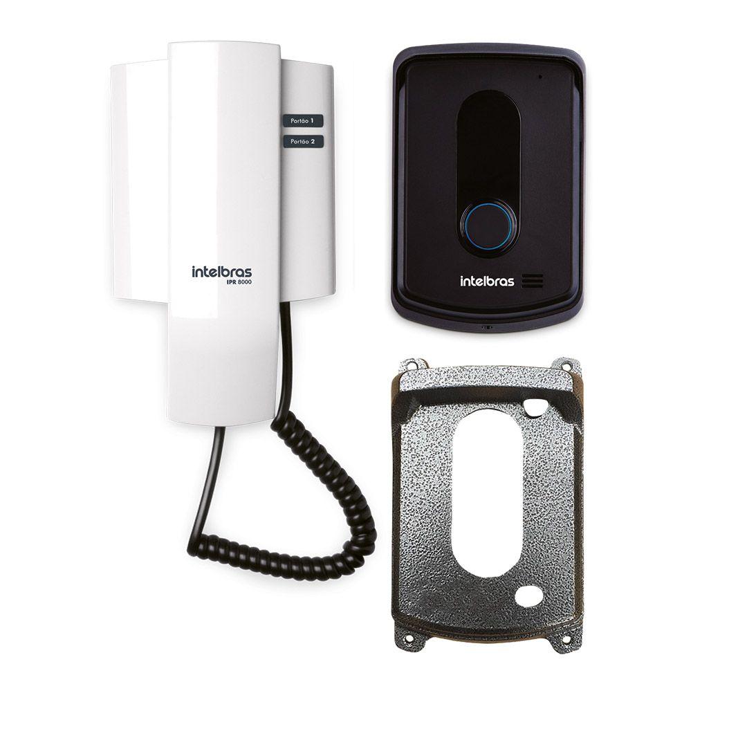 Kit Porteiro Interfone Eletrônico Intelbras IPR 8010 Abre até Fechadura + Protetor Colonial