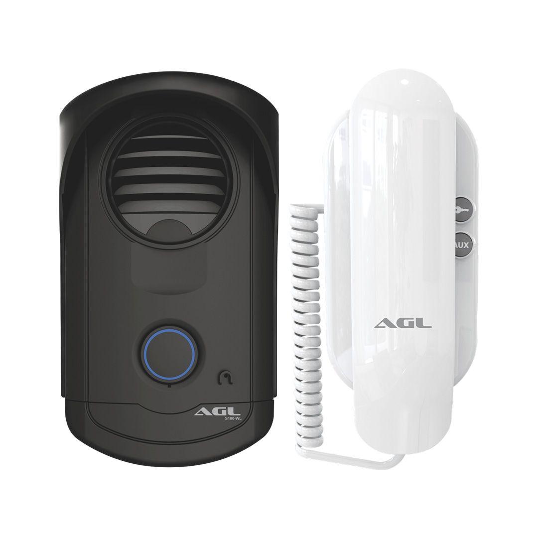 Interfone Porteiro Eletrônico AGL Slim S100 Abre 2 Fechaduras