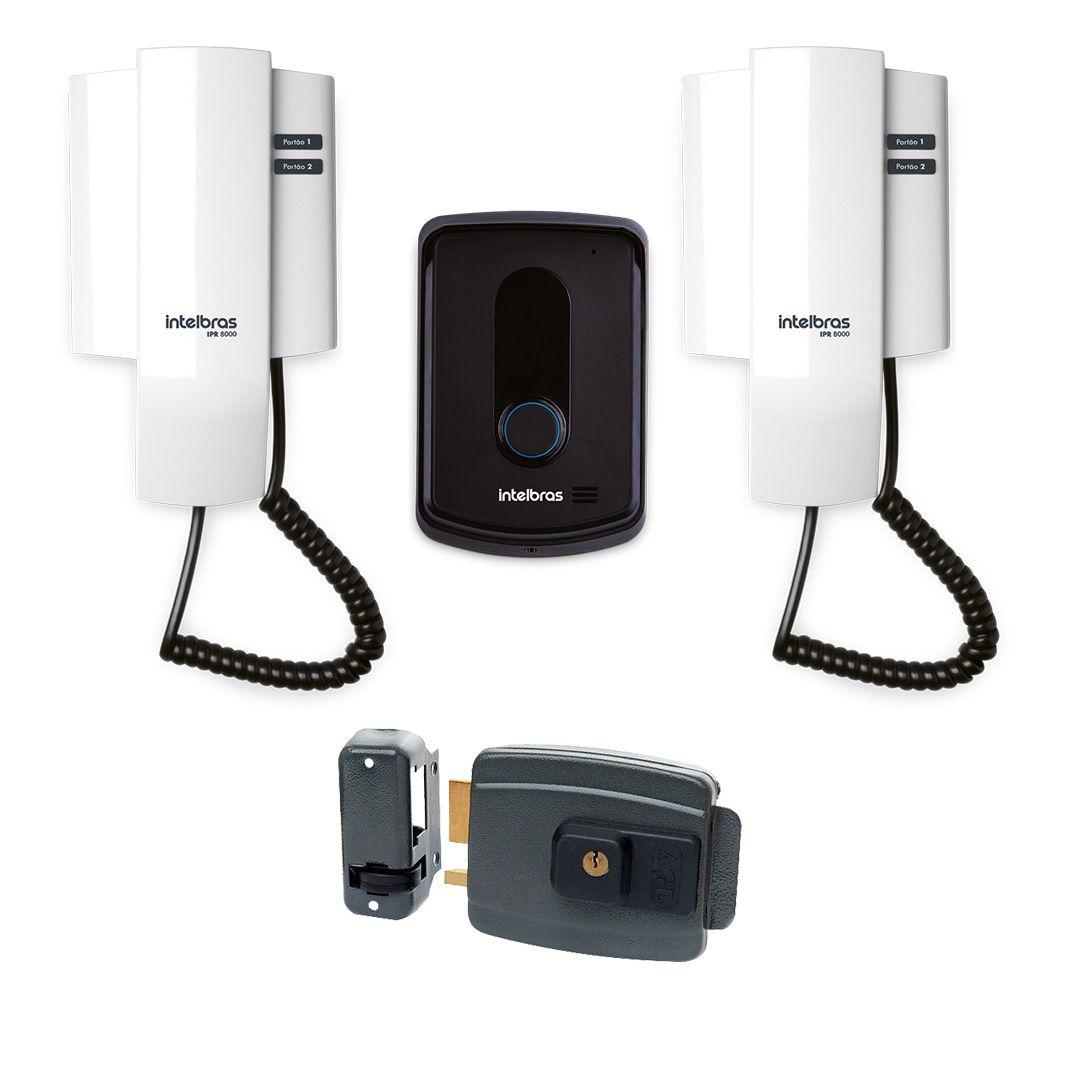 Kit Porteiro Interfone Eletrônico Intelbras IPR 8010 + Modulo interno + Fechadura Elétrica AGL-inha 12V