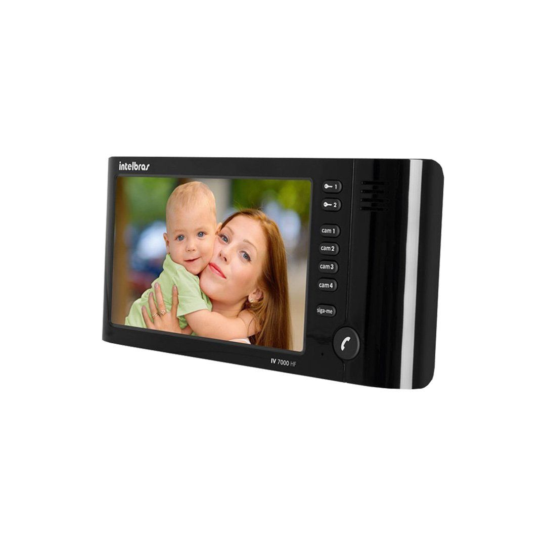 """Vídeo Porteiro Intelbras IV 7010 HF Preto, com Viva Voz, Tela Lcd de 7"""", Função Siga-me"""
